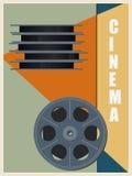 Retro bobbin with cinema film. Vintage style poster. Vector illustration. Stock Image