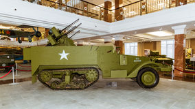 Retro bojowy pojazdu pancernego eksponata militarnej historii muzeum, Ekaterinburg, Rosja, 05 03 2016 rok Fotografia Royalty Free