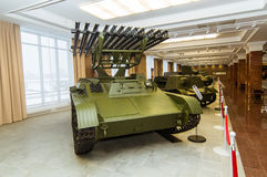 Retro bojowy pojazdu pancernego eksponata militarnej historii muzeum, Ekaterinburg, Rosja, 05 03 2016 rok Obrazy Royalty Free