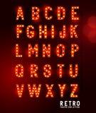 Retro bokstäver för teaterbelysning Arkivfoton