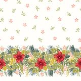 Retro Bold Colorful Tropical Exotic Foliage, Hibiscus Floral Horizontal Vector Seamless Border and Pattern. vector illustration