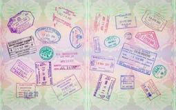 Retro bolli del passaporto Fotografia Stock Libera da Diritti