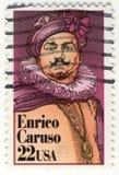 Retro bollo con Enrico Caruso Fotografia Stock