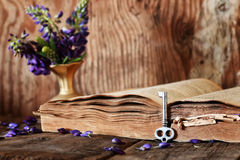Retro book on wooden table key Stock Images