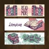 Retro Books Banner Set Stock Photo