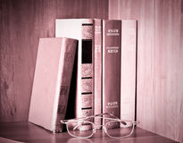 Retro books and glasses Royalty Free Stock Photography