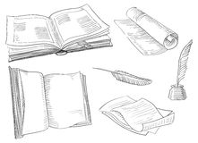 Retro books. Vector set of old  books and antique objects at engraving style Royalty Free Stock Photos