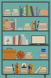 Retro Bookshelf. Vector illustration of a retro themed bookshelf with several contents royalty free illustration