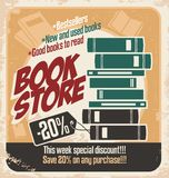 Retro bookstore poster design. Vintage poster template with books. Vector design on old paper texture Stock Photography