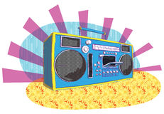 Retro Boom-box in pop-art manner Stock Photography