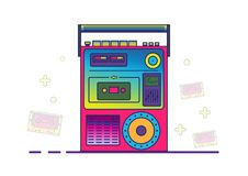 Retro boombox in 80`s-90`s trendy style. Colorful illustration on white background. Stock Images
