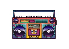 Retro boombox in 80`s-90`s trendy style. Colorful illustration on white background. Royalty Free Stock Photos