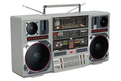 Retro Boombox 1980s on the wooden table, 3D rendering. Retro Boombox 1980s on the wooden table, 3D stock illustration