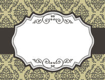 Retro border / frame with damask pattern. Elegant retro bordr with curly ornaments on floral damask pattern background.. specially for make wedding or other Stock Image
