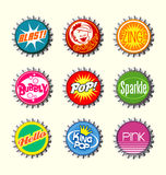 Retro bottle cap designs set 1 Royalty Free Stock Photography