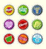 Retro bottle cap designs set 3 Stock Photography