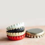 Retro bottle caps, copy space, copytext Royalty Free Stock Photo
