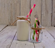 Retro bottle of milk with wafer rolls Royalty Free Stock Image