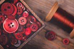 Retro bottoni rossi e filo disegnati Immagini Stock Libere da Diritti