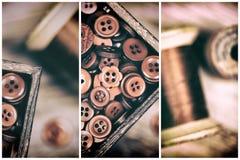Retro bottoni rossi e trittico disegnati sbiaditi del filo Fotografie Stock Libere da Diritti