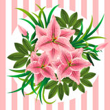 Retro bouquet with lilies, buds and leaves on striped background Royalty Free Stock Images