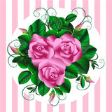 Retro bouquet with roses, rosebuds and leaves on striped back Stock Photo