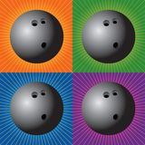 Retro bowling balls. Bowling balls with four retro backgrounds Royalty Free Stock Photo