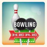 Retro bowling dell'insegna al neon illustrazione di stock