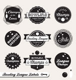 Retro Bowling League Labels and Stickers. Collection of vintage style bowling league champions labels and badges Royalty Free Stock Photography