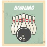 Retro bowling party flyer with skittles and ball Royalty Free Stock Image