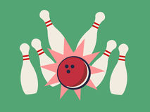 Retro bowling strike Royalty Free Stock Images