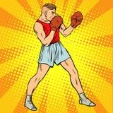 Retro- Boxer in kämpfender Position Lizenzfreies Stockfoto