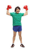 Retro boxer with red boxing gloves Stock Image