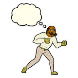 Retro- Boxermann der Karikatur mit Gedankenblase Stockfotografie