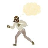 Retro- Boxermann der Karikatur mit Gedankenblase Lizenzfreies Stockbild