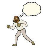 Retro- Boxermann der Karikatur mit Gedankenblase Lizenzfreie Stockbilder