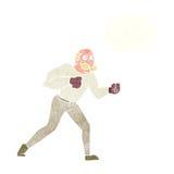 Retro- Boxermann der Karikatur mit Gedankenblase Stockbilder