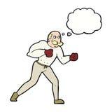 Retro- Boxermann der Karikatur mit Gedankenblase Lizenzfreie Stockfotografie