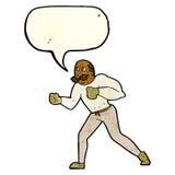 Retro- Boxermann der Karikatur mit Spracheblase Lizenzfreie Stockbilder