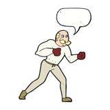 Retro- Boxermann der Karikatur mit Spracheblase Stockfoto