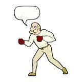 Retro- Boxermann der Karikatur mit Spracheblase Lizenzfreie Stockfotografie