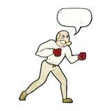 Retro- Boxermann der Karikatur mit Spracheblase Stockfotografie