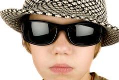 Retro boy. Vintage hat, sunglasses and boy Royalty Free Stock Image