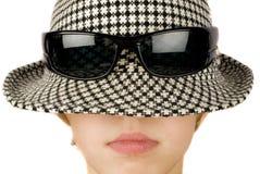 Retro boy. Vintage hat, sunglasses and boy Stock Photos