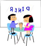 Retro boy and girl in diner. Boy and girl standing on chairs in diner sharing a milkshake with 2 straws Stock Photos