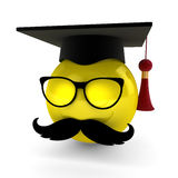 Retro Boy Graduates. A cool graduate with glasses and mustache Royalty Free Stock Photography