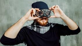 Retro Boy Pilot. Man wears glasses, fantasy image of Aviator. Retro Boy Pilot. The man in glasses and scarf, fantasy image of Aviator and visionary Stock Photo
