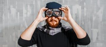 Retro Boy Pilot. Man wears glasses, fantasy image of Aviator. Retro Boy Pilot. The man in glasses and scarf, fantasy image of Aviator and visionary Royalty Free Stock Photo