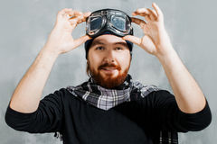 Retro Boy Pilot. Man wears glasses, fantasy image of Aviator Royalty Free Stock Photos