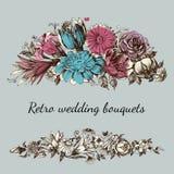 Retro bröllopblommor vektor illustrationer